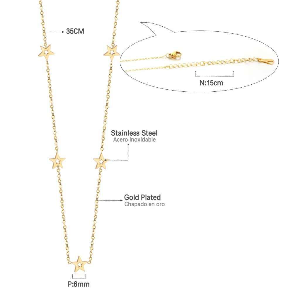 LUXUSTEEL الذهب/الفضة/ارتفع الذهب اللون دائرة نجمة مستديرة قلادة القلائد موضة الفولاذ المقاوم للصدأ السيدات المختنق القلائد صديق