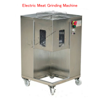 110V/220V Electric Meat Grinding Machine Commercial Meat Chopping Machine Stainless Steel Meat Slicer with 4 Wheels QSJ A