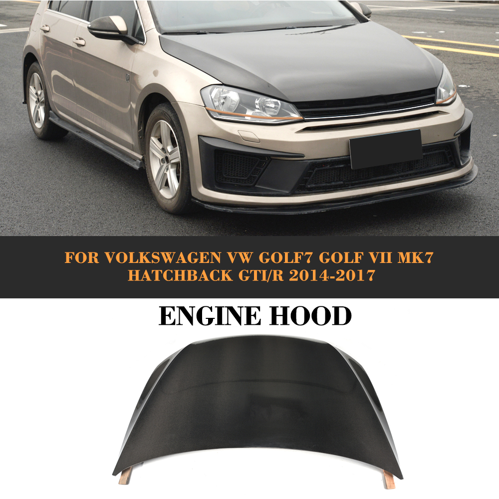 Carbon Fiber <font><b>front</b></font> <font><b>bumper</b></font> Bonnet Machine hood Cover for Volkswagen <font><b>VW</b></font> <font><b>Golf</b></font> <font><b>7</b></font> VII MK7 Hatchback <font><b>GTI</b></font> R 2014-2017 Non Standard image