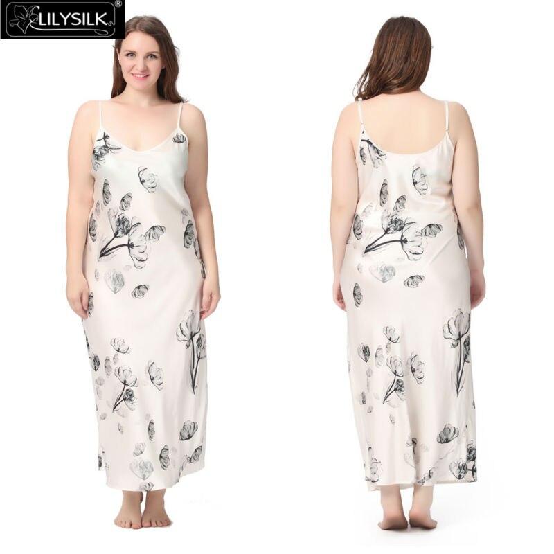 1000-lotus-white-full-length-silk-nightgown-with-lotus-pattern-plus-size-01