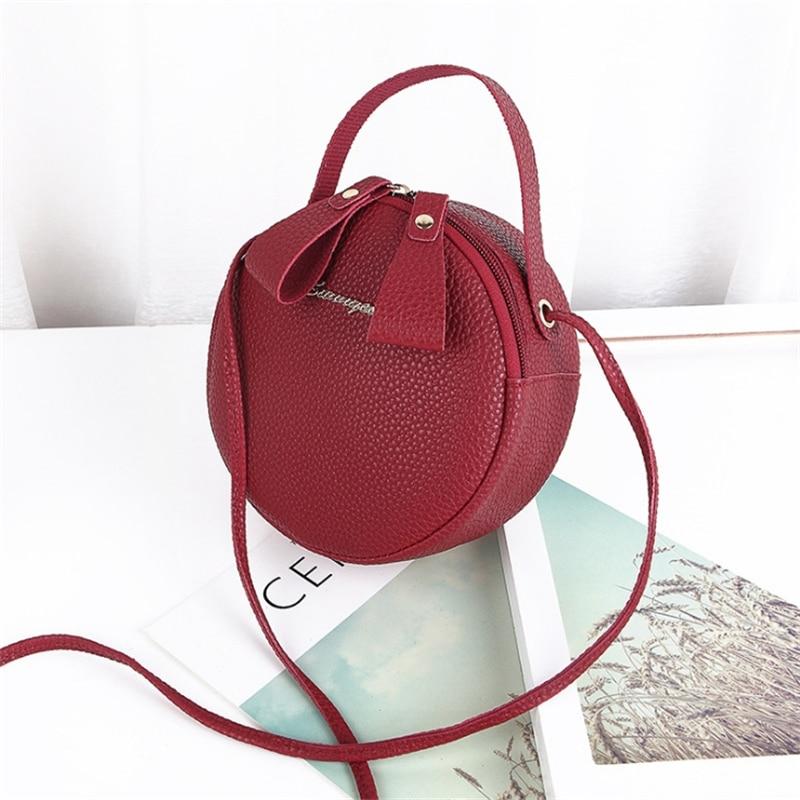 Fashion Women Phone Bag Mini PU Leather Circular Handbag Simple Design Messenger Bags For Women Female Crossbody Bags Purse