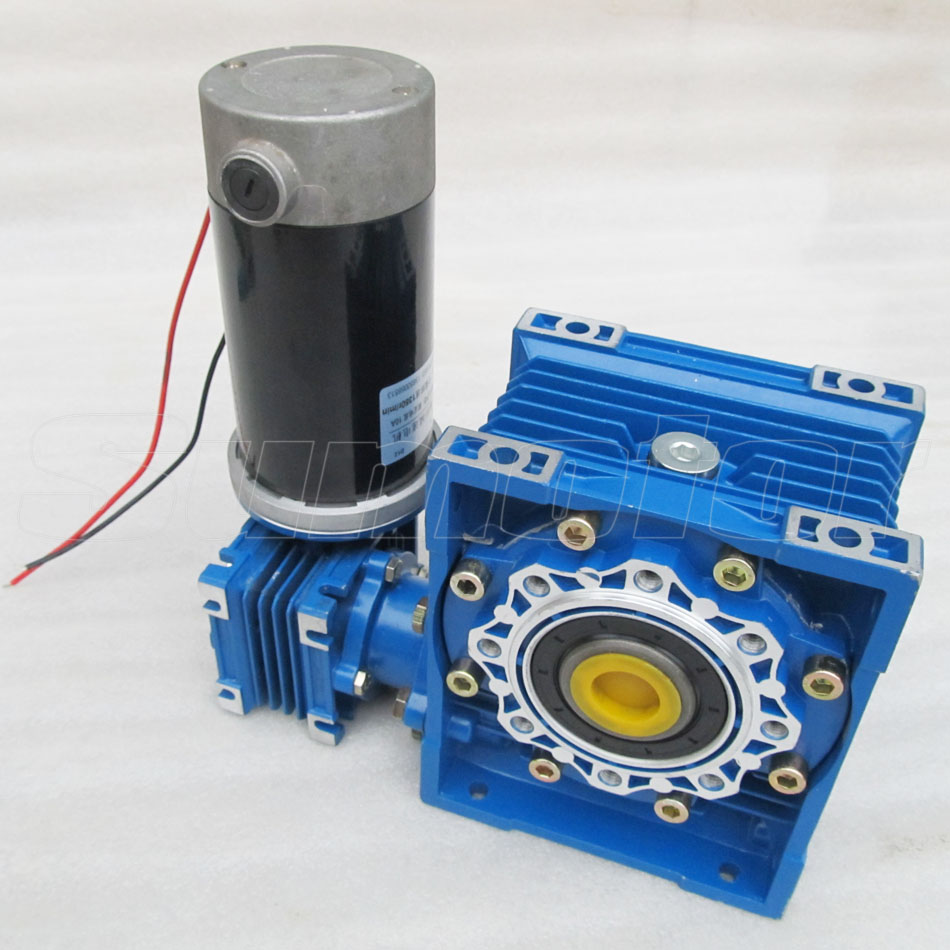 DC 24V 6.5A 100W GW030050 Low speed High Transmission ratio High Torque dual-shaft Output bore Electric Worm Gear Motor