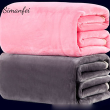 Simanfei Blankets Superfine Soft Flannel Solid color Bed Textile Coral fleece sheet Bedspread Throw Blanket For Sofa and