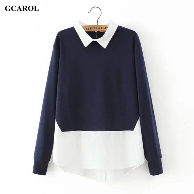 GCAROL Mulheres New Knitting Chiffon Emendado Camisola Casual Asymmetric Comprimento Oversize Malha Tops Para A Primavera Outono Inverno