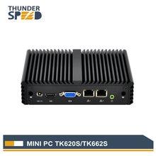 Thunderspeed Fanless Mini PC 2 LAN J1900 Quad Core 1080P PFsense Firewall Router Win10 Linux