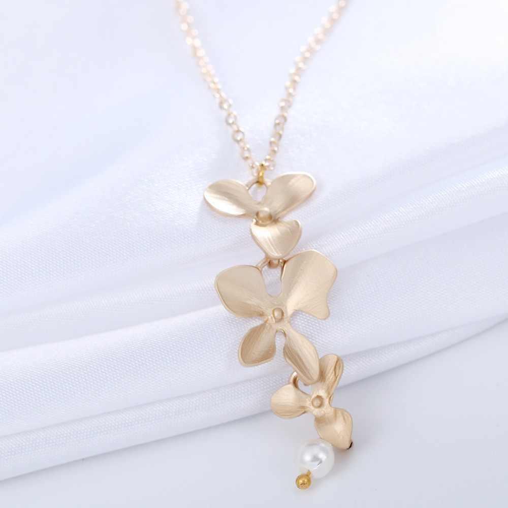 QIMING Boho orchidea naszyjnik kwiatowy dla kobiet panna młoda druhna srebrny złoty moda biżuteria Pearl kwiatowy ślub naszyjniki prezent