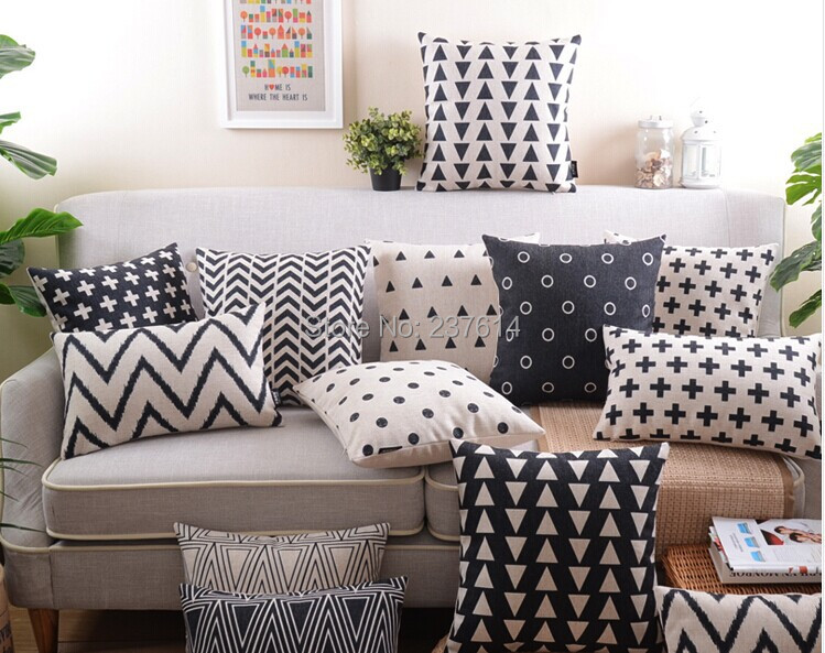 Free Shipping Pillow Case Set Decorative Pillows Black And - Sofa Cushions Black And White