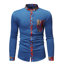 GuyuEra New men's African Ethnic Style Stitching Collar Long Sleeve Shirt