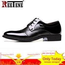 a91198513 REETENE جديد جلد أكسفورد الأعمال حذاء رجالي الدانتيل يصل الأحذية حذاء رجالي  وأشار تو الرجال اللباس أحذية ل الزفاف الرسمي حجم 38 .