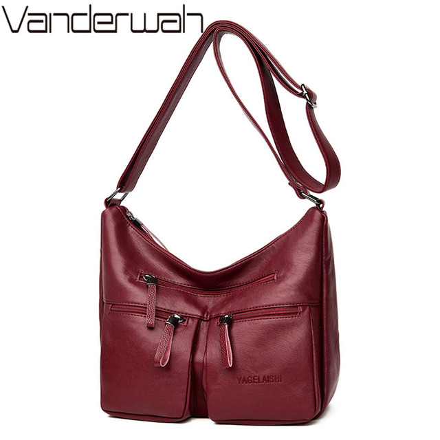 a810434496 2018 New Soft Leather Women Shoulder Bags Leather Handbags Women bags  designer Double Zipper fashion leisure Crossbody Bags sac