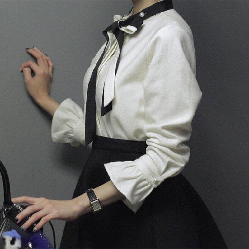 Elegant Beautiful Clothing Quality Fashion Top Pearl Bow Flare Sleeve Vintage Romantic Style Women Shirt