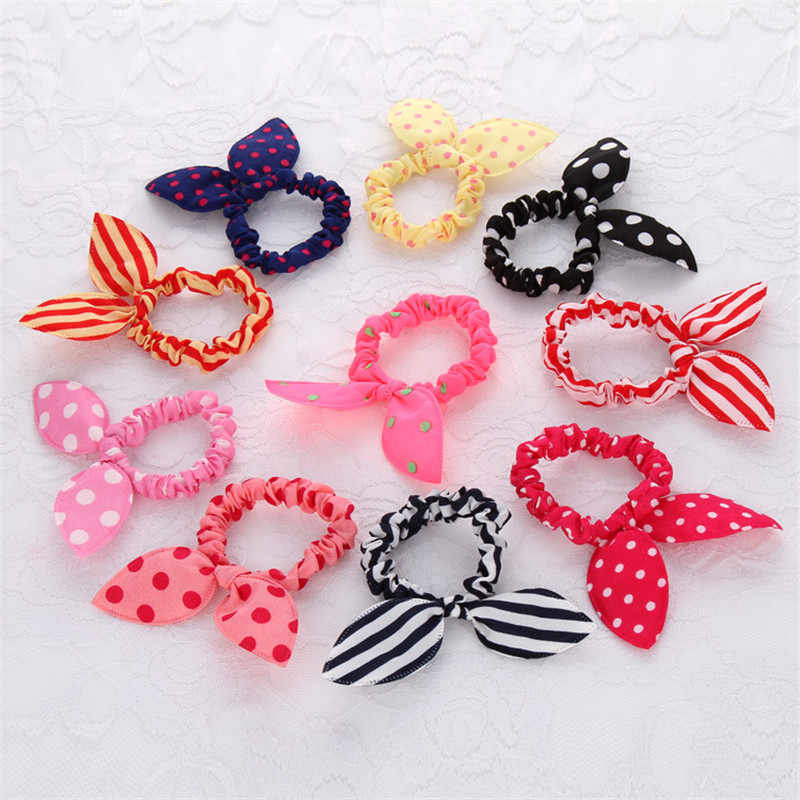 3 pcs/lot Rabbit Ears Hair Band Children Kids Hair Accessories Elastic Hair Band For Women Girl Rubber Band Polka Dot Hair Rope