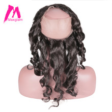Maxglam 360 Lace Frontal Closure With Pre Plucked Hairline Brazilian Hair Loose Wave Remy Human Hair Extension Free Shipping(China)
