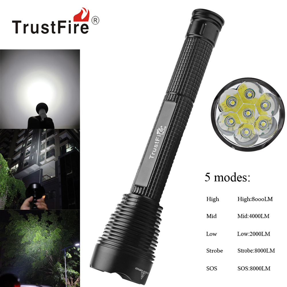 TrustFire J18 8000Lm Super Bright LED Flashlight Outdoor Waterproof Extended Torch Lamp 5 Mode 7 x XM L2 LED Flash Light