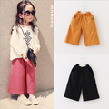 Spring and autumn girls cotton linen wide leg pants fashion casual solid trousers for 1-4 years female children trousers