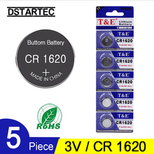 5Pcs/Lot 30mAh 3V Lithium Button Cell Battery CR1620  DL1620 CR 1620 ECR1620 5009LC KCR1620 BR1620 LM1620 Coin Batteries