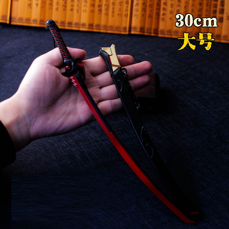 30 CM High Quality Alloy Sword Sheath Action Figures Children Model Toys Weapon Japanese Anime OW GEN Ji Gifts 2017 KF027