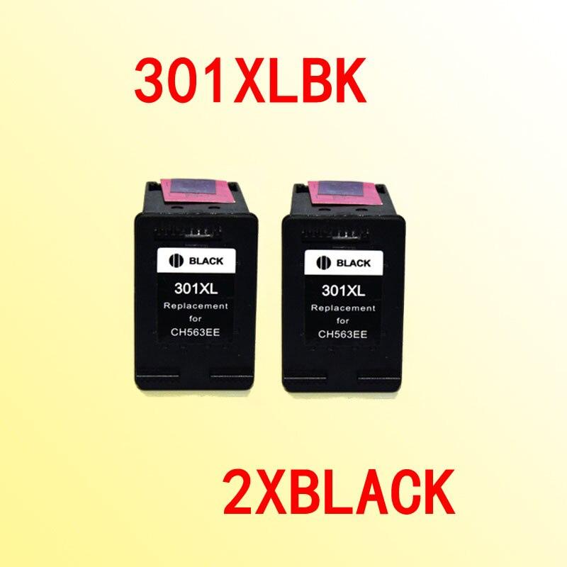 2 stücke schwarz tintenpatronen für hp301 301xl für hp 301 Deskjet 1000/1050/2000/2050/J410a/J510a
