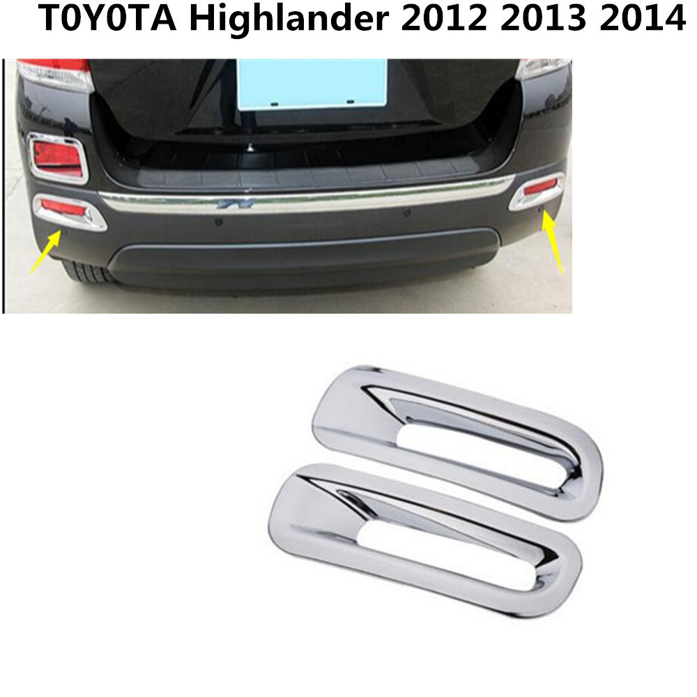 Car body Rear back fog light lamp frame stick styling ABS Chrome cover trim parts 2pcs For Toyota Highlander 2012-2014