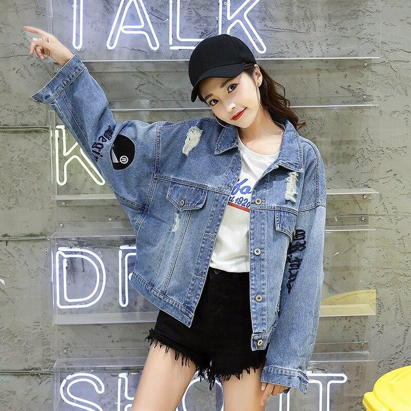 Blue Plus Printemps Mode Broderie Denim Automne De Style Manteau Trou Lâche Vintage La Taille Nouvelle 2018 Femme Bf Veste Femmes Ljj0106 RtgqdwxqBW