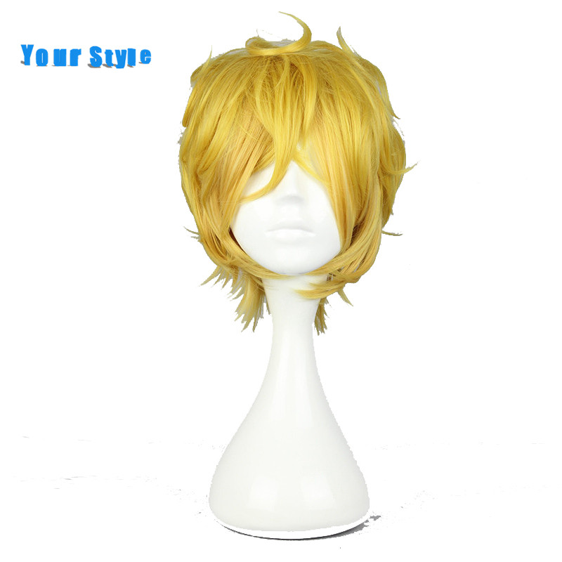 Your Style Short Pixie Cut Curlr Cosplay Wig Hairstyles for Party Golden Color Synthetic Fake Natural Hair Wigs for Men