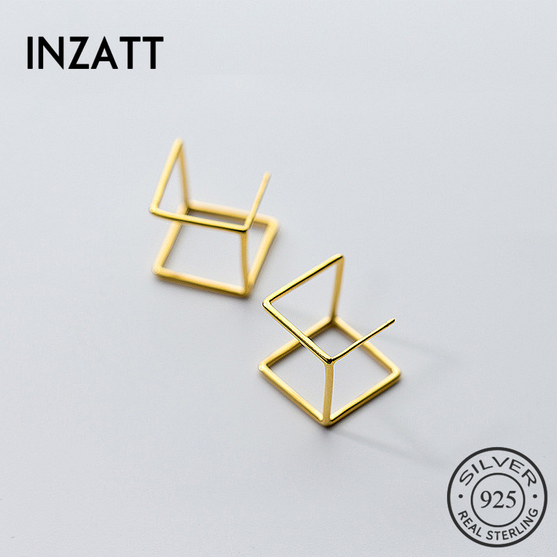 INZATT Real 925 Sterling Silver Hollow Square Stud Earrings For Women Party Fashion Jewelry Minimalist Accessories Punk Gift