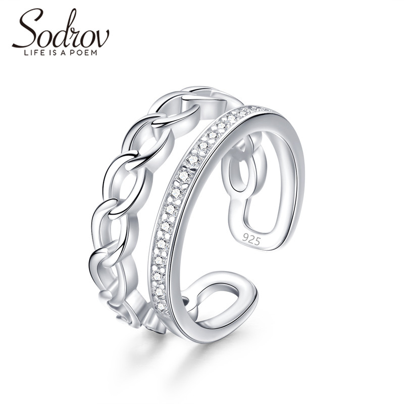SODROV 925 Sterling Silver Open Party Ring Jewelry for women HR048 PersonalizedSODROV 925 Sterling Silver Open Party Ring Jewelry for women HR048 Personalized