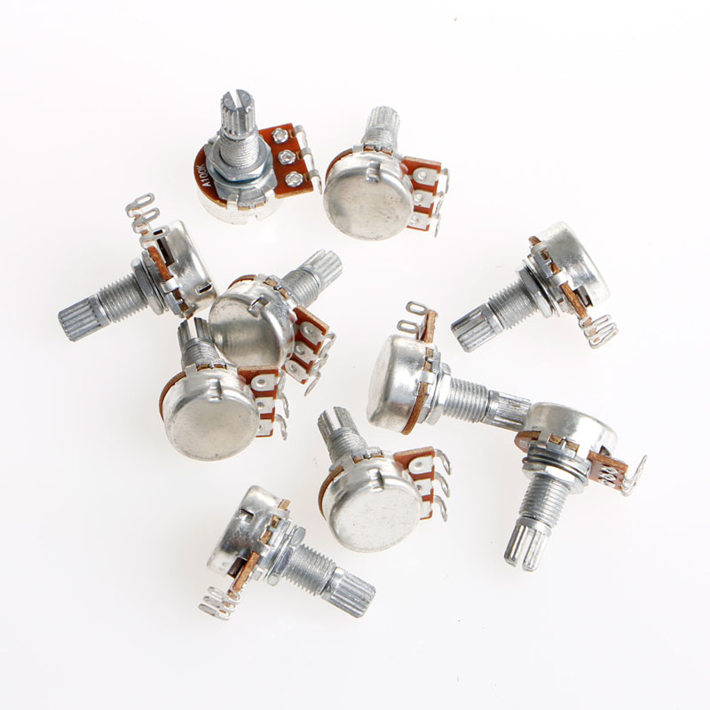 5Pcs Durable A100K OHM Audio Tone Guitar Potentiometer 16mm Base Guitar AccessoriesHigh Quality gold tone 0 4 ohm 5