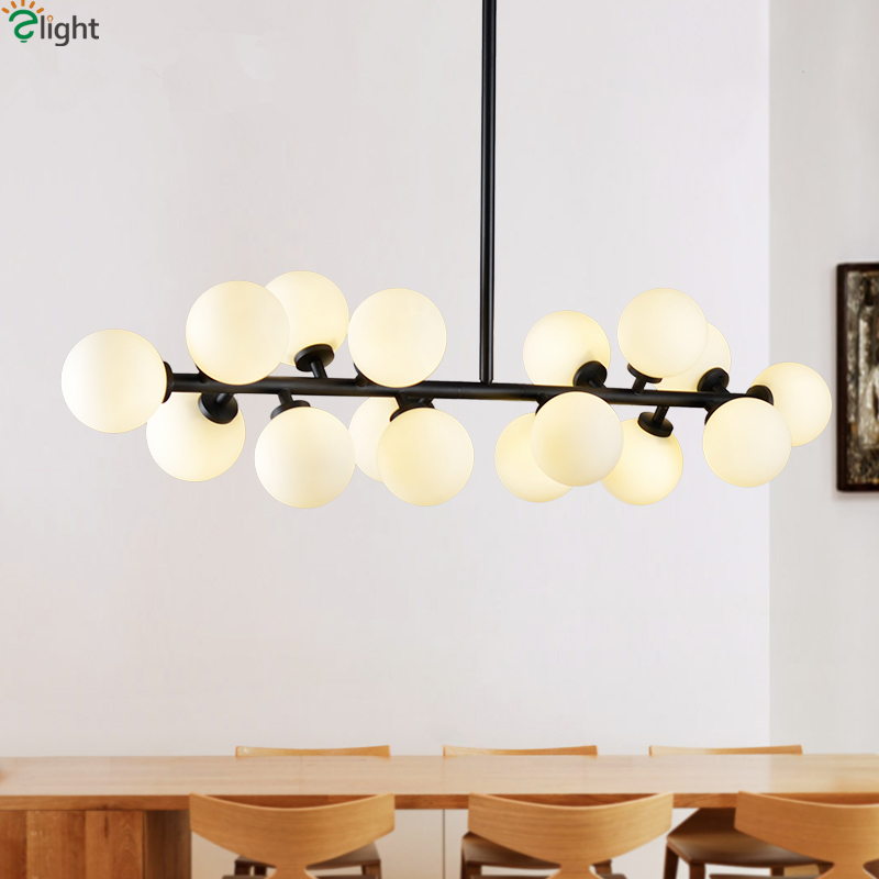 Straight 16 Lights Glass Globes Led G4 Chandelier Lustre Pipe Dropped Chandelier Lighting Luminaria Dining Room Lamparas
