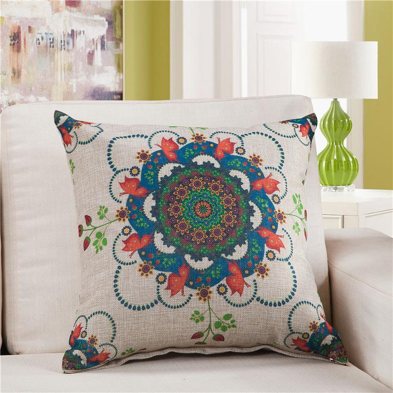 high quality retro bohemian floral print throw pillows cotton linen vintage decorative pillows sofa chair seat bohemian furniture