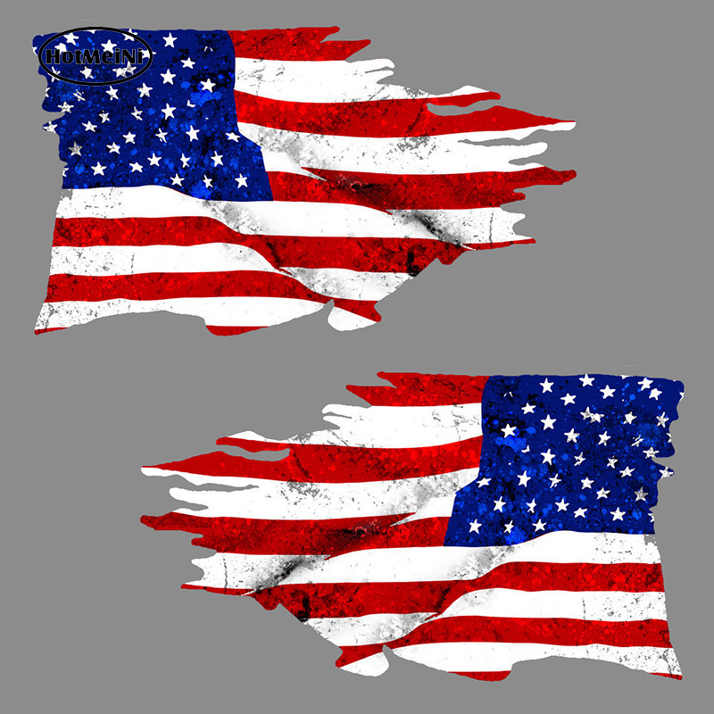 HotMeiNi Car Styling USA Tattered Flag American Country Waterproof Decal Car 3D Sticker Rearview Mirror Accessories 15.2*8.9cm
