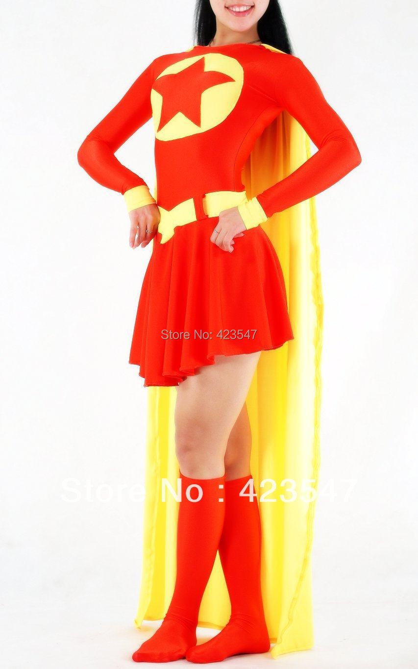 Red And Yellow Spandex Superhero Costume Zentai Cosplay Halloween party Suit free shipping