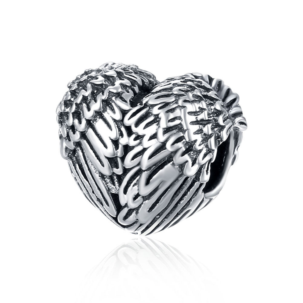 Authentic 925 Silver Vintage Heart Shape Angel Wings Charm Fits Original Pandora DIY Bracelet Beads for Jewelry Making LOGO S925