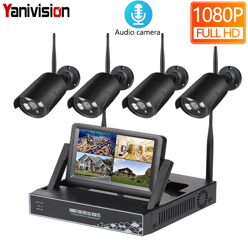 4CH 1080P Wireless NVR Kits 7inch LCD Audio 2MP HD Outdoor IP Camera Home Security System Surveillance Kits WiFi Camera Kit