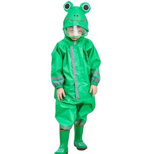 Image 4 - Winstbrok子供レインコートレインパンツ子供漫画防水レインウェア少女と少年ポンチョ不浸透性レインコート雨ジャンプスーツ
