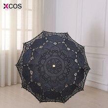 Модный зонтик от солнца свадебные ручной вышивкой хлопок черный кружево край защита от солнца зонтик вечерние украшения партии дешевые