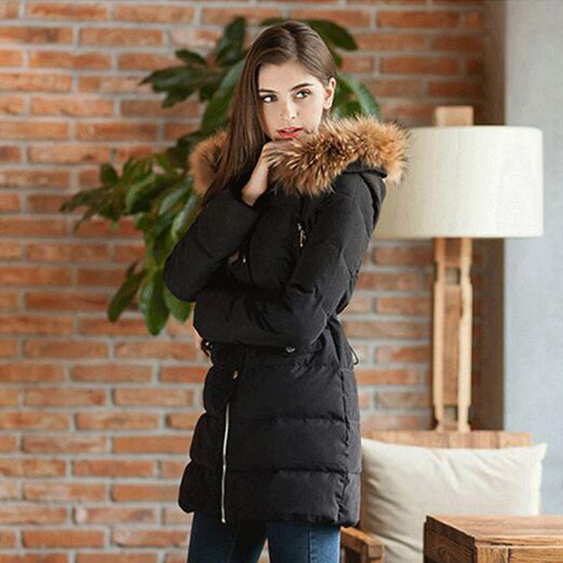 Winter Jacket Coat Women 2016  Real Raccoon Fur Collar Hooded Women's Jackets Outwear 2017 winter new clothes to overcome the coat of women in the long reed rabbit hair fur fur coat fox raccoon fur collar
