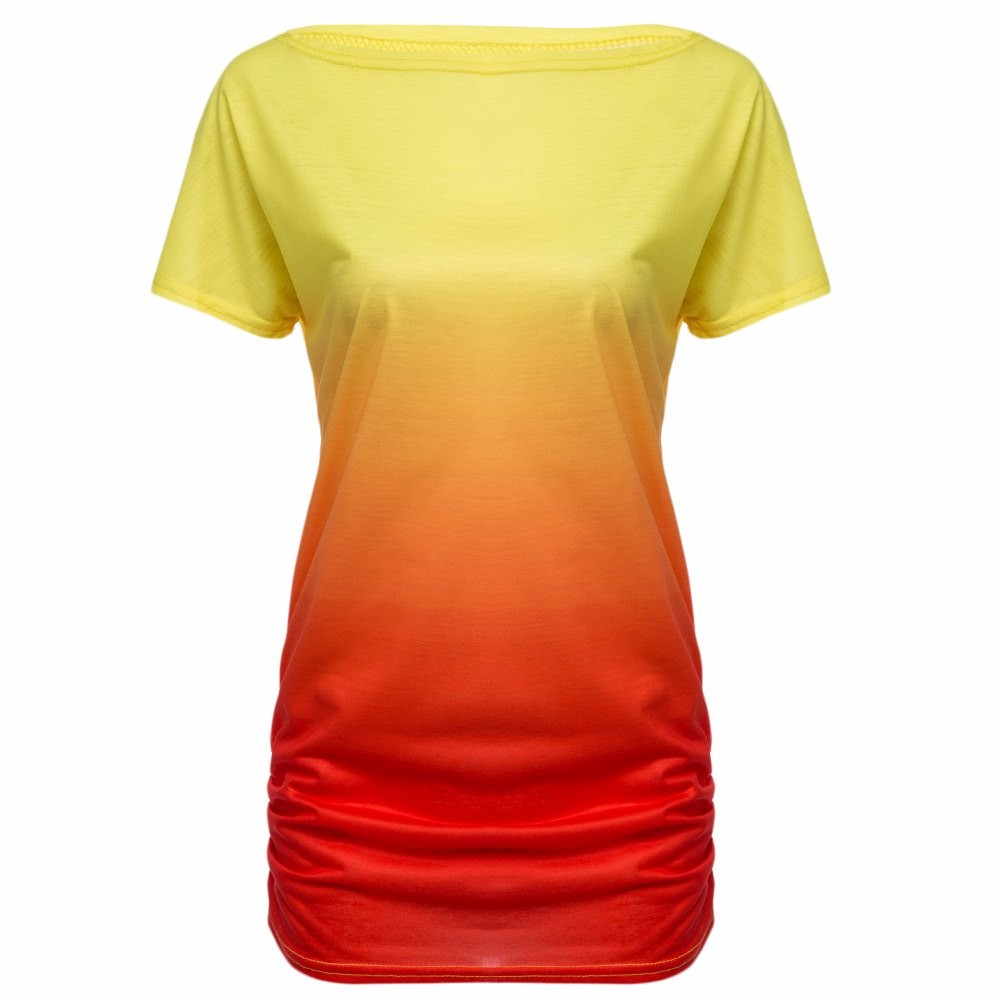 HTB1GX1GKVXXXXaYaXXXq6xXFXXXI - Women Tops Dye Print Tee Shirts Short Sleeve Gradient Color Casual