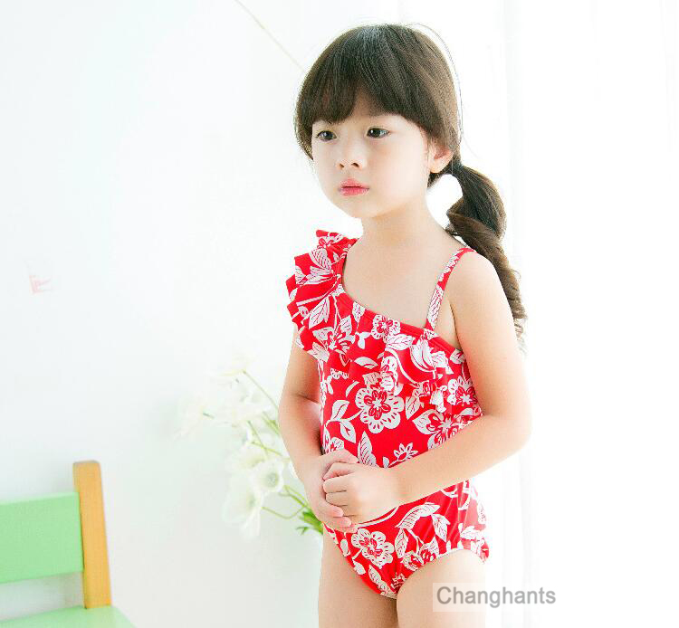 Baby Girls Swimwear Red with Classical Flower Pattern 2 7