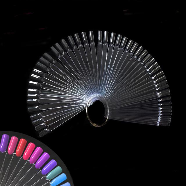 50PCS False Nail Tips Fan shaped Fake Nail Art Tips Polish UV Gel Sticker Decoration Display Stick Gel Salon Tool Clear Natural