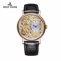 2018 Reef Tiger Designer Fashion Watches Leather Band Luxury Rose Gold Automatic Watches RGA1995 Non moving Double Tourbillon
