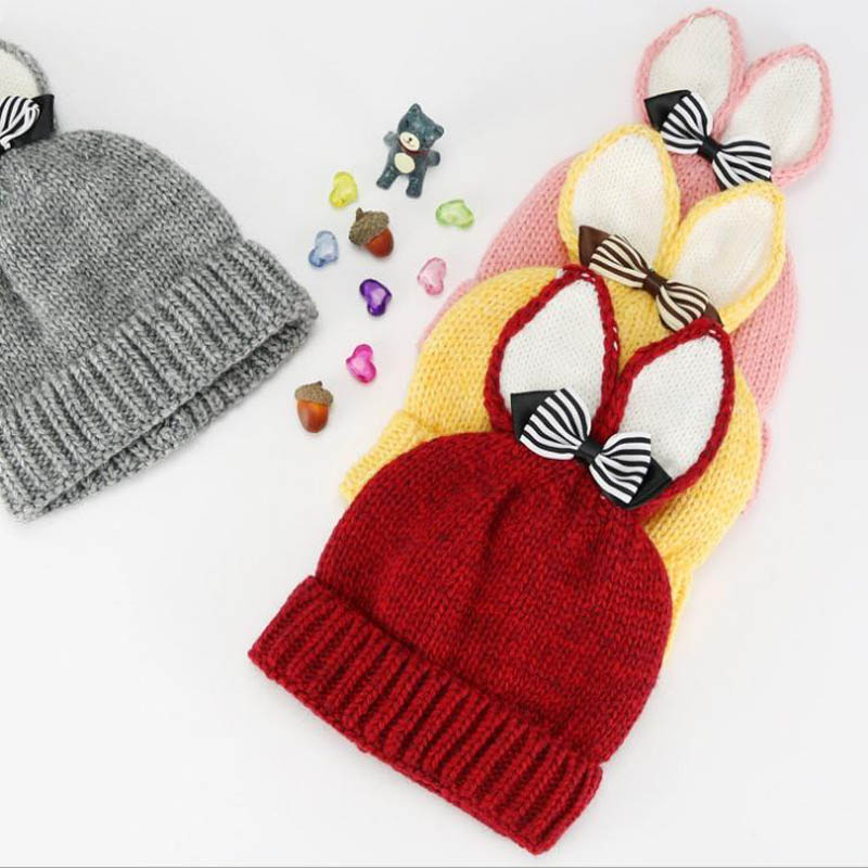 2017 Autumn Winter Baby Child knitted fur hat kids girls Cartoon rabbit ears solid knitting Earflap Caps Age for 1-6 years old new star spring cotton baby hat for 6 months 2 years with fluffy raccoon fox fur pom poms touca kids caps for boys and girls
