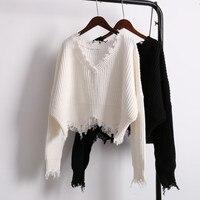 Lantern Sleeve Sweater Female Short Pullover Loose 2017 Autumn Winter Warm Design V Neck Sweater Thick