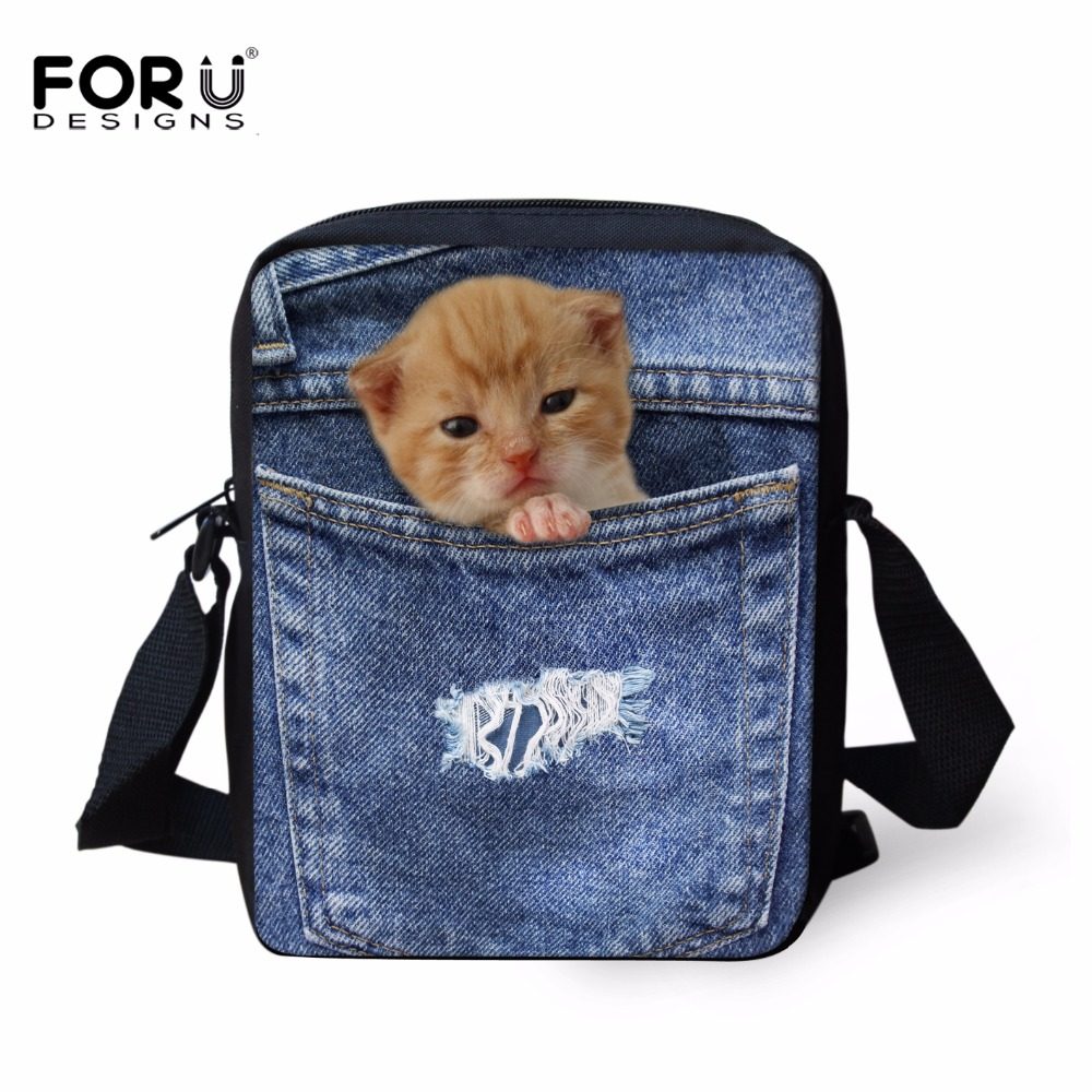 FORUDESIGN Cute 3D Cat Dog Mini School Bag Children Book Schoolbag Denim Animal Kids Shoulder Cross-body Bags Mochila Infantil minions ninja mini messenger bag children cute animal dog cat horse printing school bags boys kids book bag for snack best gift