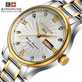 Часы с календарем для мужчин  кварцевые часы из нержавеющей стали золотого цвета  водонепроницаемые до 30 м