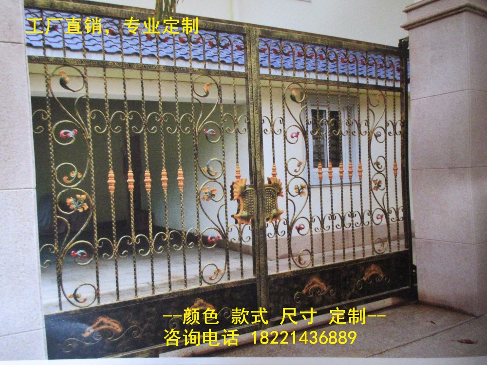 Custom Made Wrought Iron Gates Designs Whole Sale Wrought Iron Gates Metal Gates Steel Gates Hc-g61