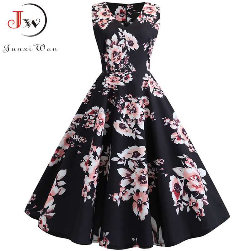 Sexy Retro Floral Print Dress 2020 Women Summer Vintage V Neck Party Dress 50s 60s Pin Up Rockabilly Dress Plus Size Robe Femme 2