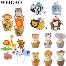 WEIGAO Lion Monkey Cake Toppers Jungle Birthday Theme Party Decor Cupcake Wrapper for Kids Supplies