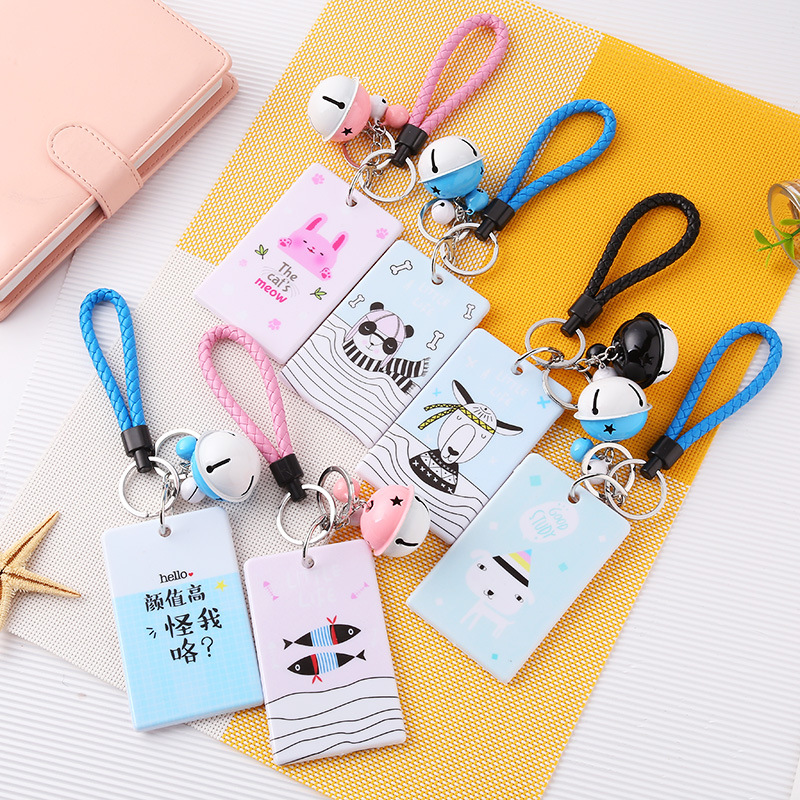 Coloffice Creative cartoon bell lanyard plastic bus card set Cute student bank card ID protector Keychain school office supplies