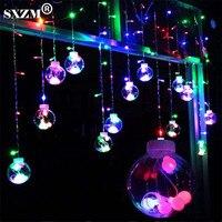 SXZM 2M Led Curtain Light 12pcs Big Ball 108 Leds String Multicolor AC220V With EU Plug